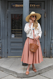 jacket,top,skirt,pink skirt,hat,white jacket,sunglasses,bag,slide shoes