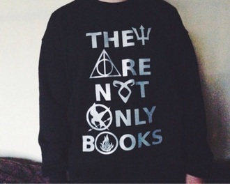 sweater blac white harry potter divergent ingent the hunger games
