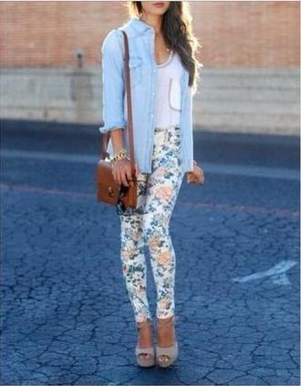 shoes brown bag floral leggings