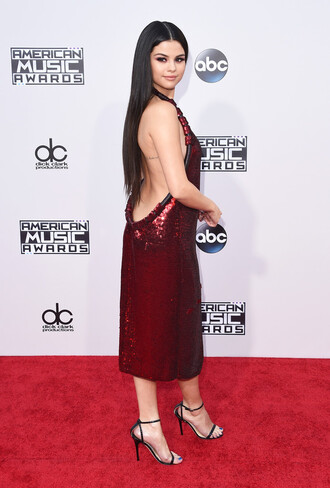 dress backless sequins sequin dress midi dress selena gomez gown prom dress amas 2015 sexy dress