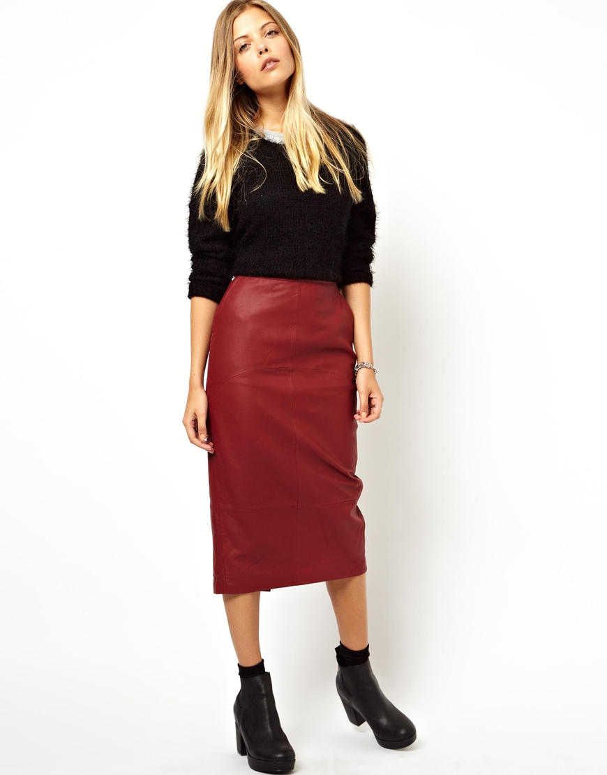 ASOS Pencil Skirt in Leather at asos.com