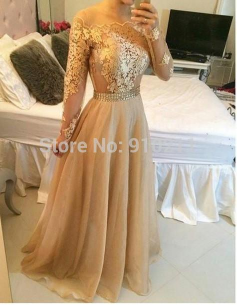 Womens Evening Wear Sexy Long Sleeve Prom Dresses 2015 Formal Dresses Lace  Evening Dress Champagne See Through Neckline Bead Belt Chiffon Bridesmaid
