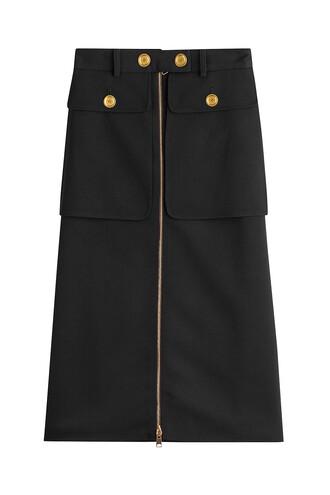 skirt silk wool black
