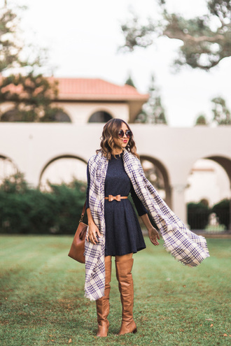 lace and locks blogger blanket scarf belted dress bow belt brown leather boots
