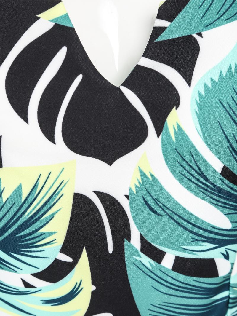 Green Strapless Leaves Print Jumpsuit - Sheinside.com