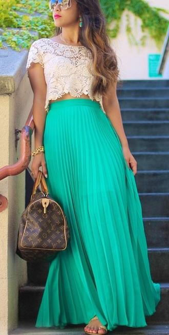 skirt mesh skirt pleated skirt alice+olivia maxi skirt chiffon skirt neon pink top