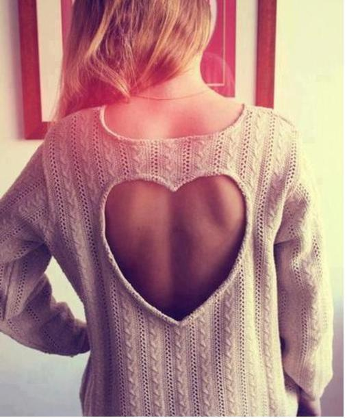 Nextshe women fashion back hollow loving heart shape casual solid loose knitwear apricot free size pullover sweater