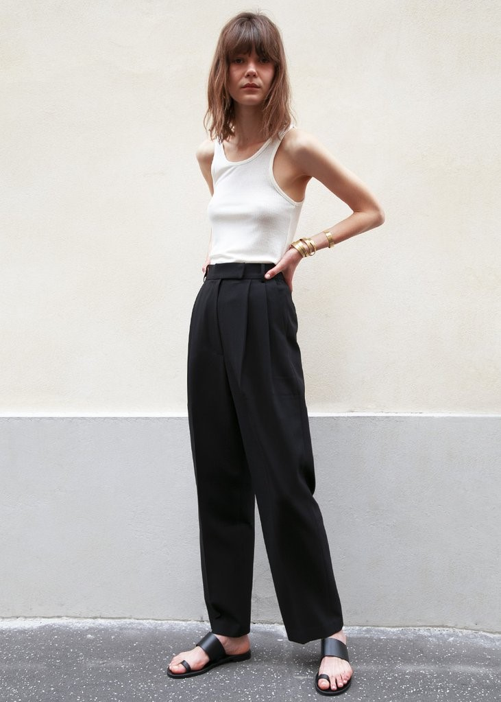 Bea Pleated Suit Pants in Black