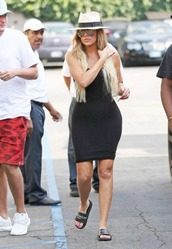 dress,bodycon dress,slide shoes,black dress,khloe kardashian,kardashians,hat,summer outfits,summer dress