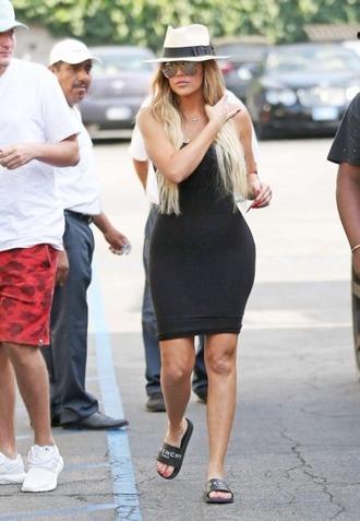 dress bodycon dress slide shoes black dress khloe kardashian kardashians hat summer outfits summer dress
