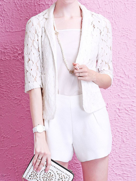 laced white 3/4 sleeve hollow notch lapel short coat