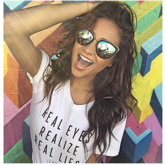 t-shirt line shay mitchell white t-shirt graphic tee shirt