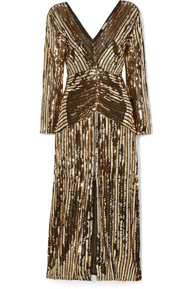 RIXO - Emmy Striped Sequined Chiffon Midi Dress - Black - Emmy Striped Sequined Chiffon Midi Dress