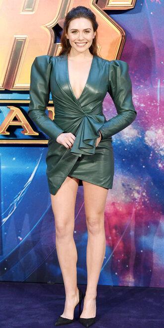 dress leather leather dress elizabeth olsen mini dress plunge dress pumps