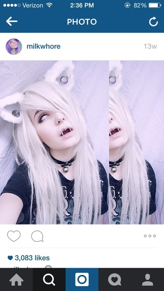 hair accessory cat ears cats white hair grunge pastel goth gothic lolita kawaii halloween makeup