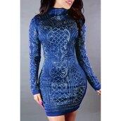 dress,royal blue dress,bodycon dress,classy,long sleeves,clubwear,sexy,curvy