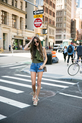 top green top ruffled top tumblr ruffle one shoulder shorts denim denim shorts sandals sandal heels wedges wedge sandals shoes