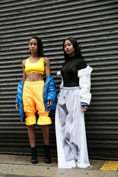 pants,nyfw 2017,fashion week 2017,fashion week,streetstyle,grey sweatpants,sweatpants,top,black top,see through,see through top,jacket,white jacket,yellow,cropped,crop tops,boots,black boots,ankle boots,blue jacket,00s style
