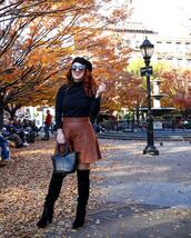 tf diaries,blogger,shirt,shoes,bag,hat,shorts,leather,leather shorts,fall outfits,beret,black boots,over the knee
