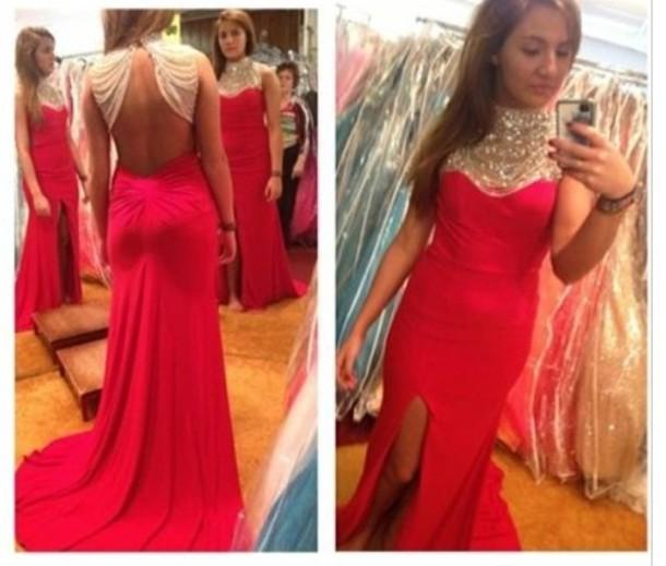 dress red gorgeous elegant dress long dress prom dreesses prom dress long prom dress