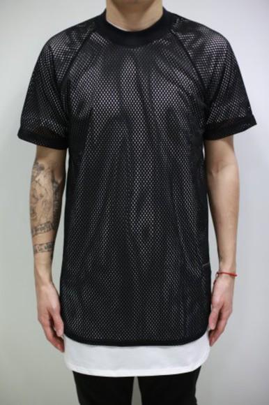 mens shirt white mesh black