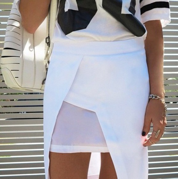 mesh cut-out skirt high waist layer outfit asymmetrical skirt