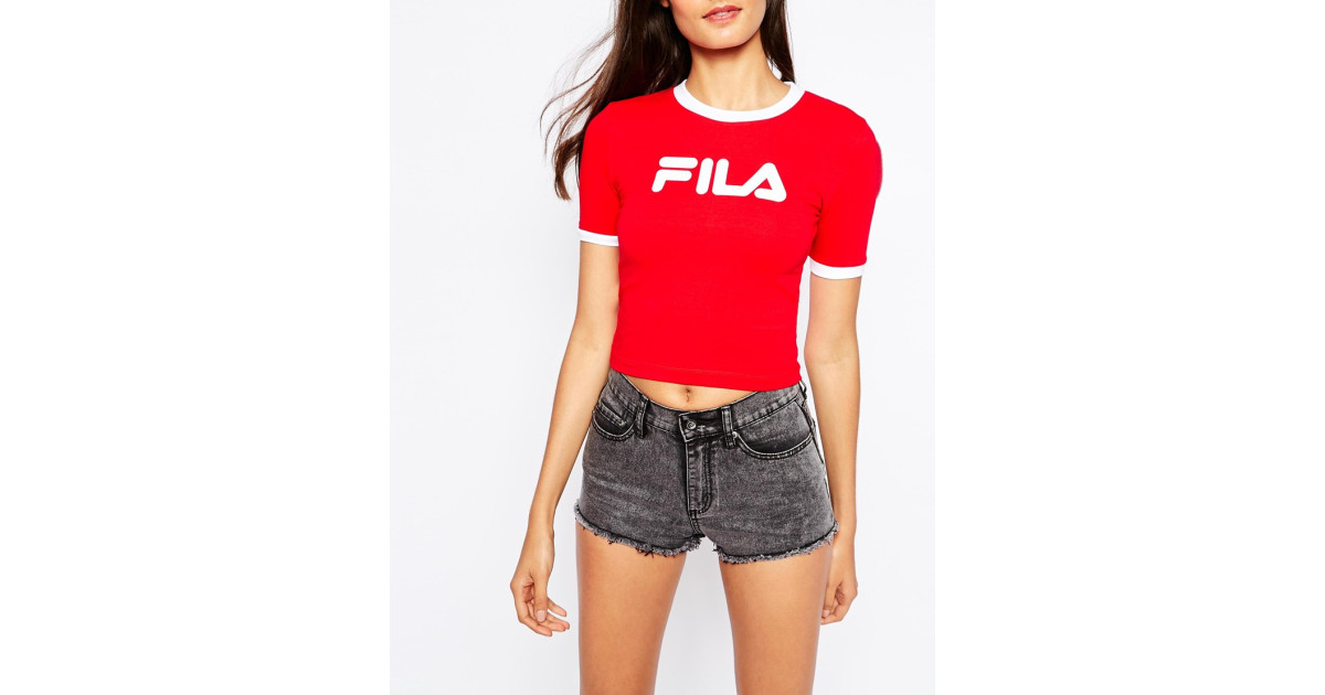 307f3c77a22 Fila | Red Cropped 90s T-shirt With Contrast Collar And Front Logo | Lyst