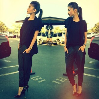pants pantalon cuir noir shoes zendaya black high heels pointed toe harem pants black pants