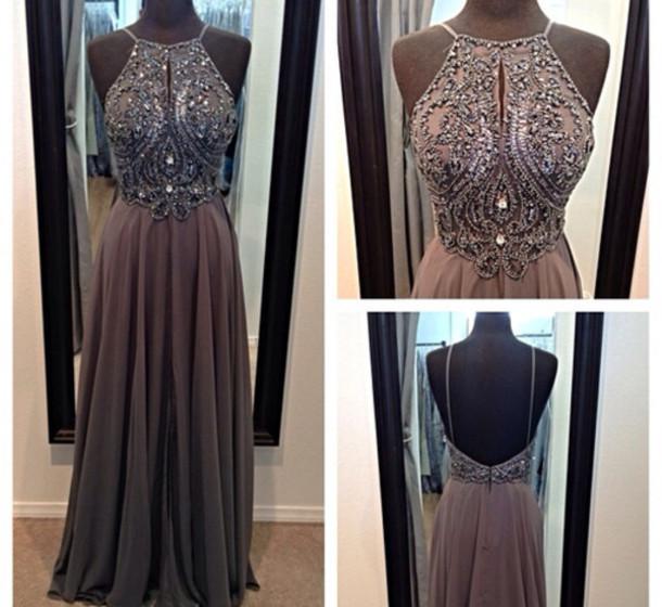dress grey long evening dress