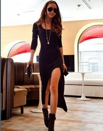 dress maxi dress black dress black casual dress assymetrical zipper sexy streetstyle edgy long all black everything women date outfit maxi
