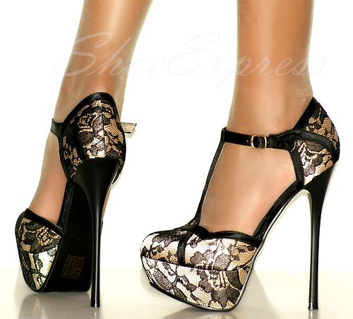 WOMEN HIGH HEEL gold SATIN COVERED LACE GOTH PARTY SHOES size-UK2-7,EU35-40   Amazing Shoes UK