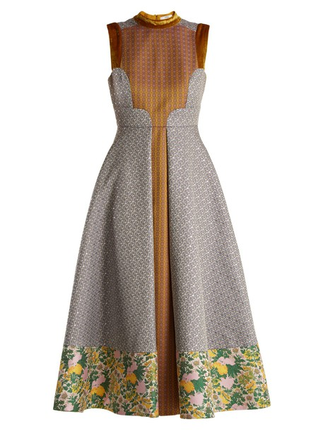 Erdem dress jacquard geometric floral gold