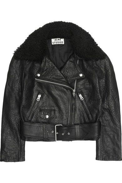 Collar leather biker jacket