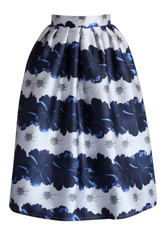 skirt chicwish dahlia printed a-line midi skirt blue dress