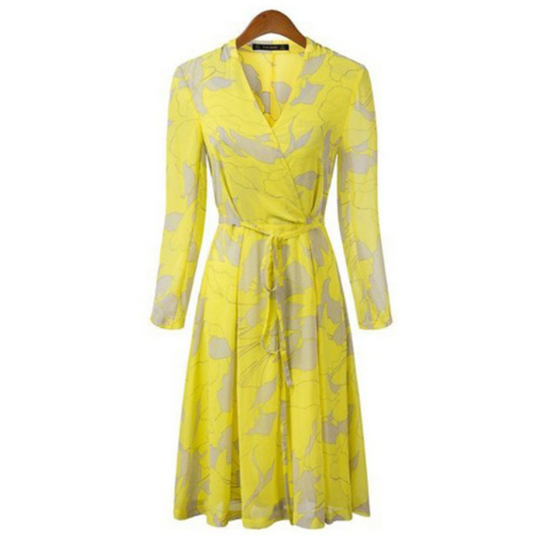 Dress: floral dress, chiffon dress, midi dress, yellow dress ...