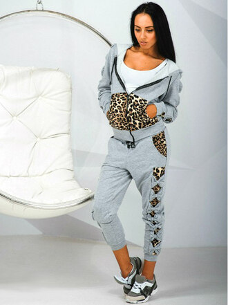 set crop top and skirt set 2 piece set women sweat the style sweatshirt sweatpants tracksuit tracksuit trousers hoodie leopard print leopard leggings girly urban outfitters tumblr