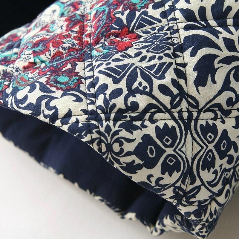 Navy Long Sleeve Embroidered Porcelain Print Jacket - Sheinside.com