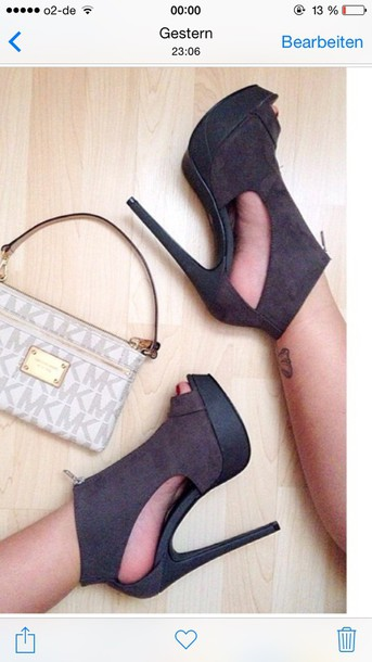 shoes peep toe boots grey heels side open design