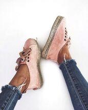 shoes,summer,pink,sneakers,vintage,pastel sneakers,velvet shoes,pink sneakers,pink shoes,sporty chic,athleisure,cropped jeans,frayed denim,espadrilles,flats,suede shoes,pink espadrilles,designer espadrilles