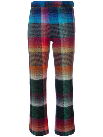 rainbow cropped women mohair print wool pants