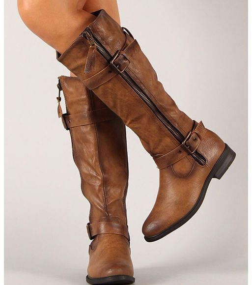 buckles shoes straps brown leather boots thigh high boots cowboy boots winter boots hipster