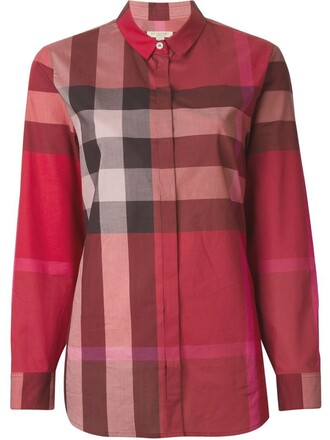 shirt checked shirt red top