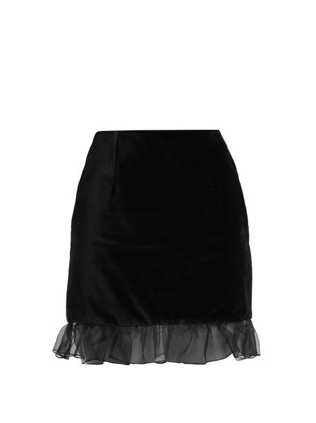 ALEXACHUNG skirt mini skirt mini ruffle velvet black
