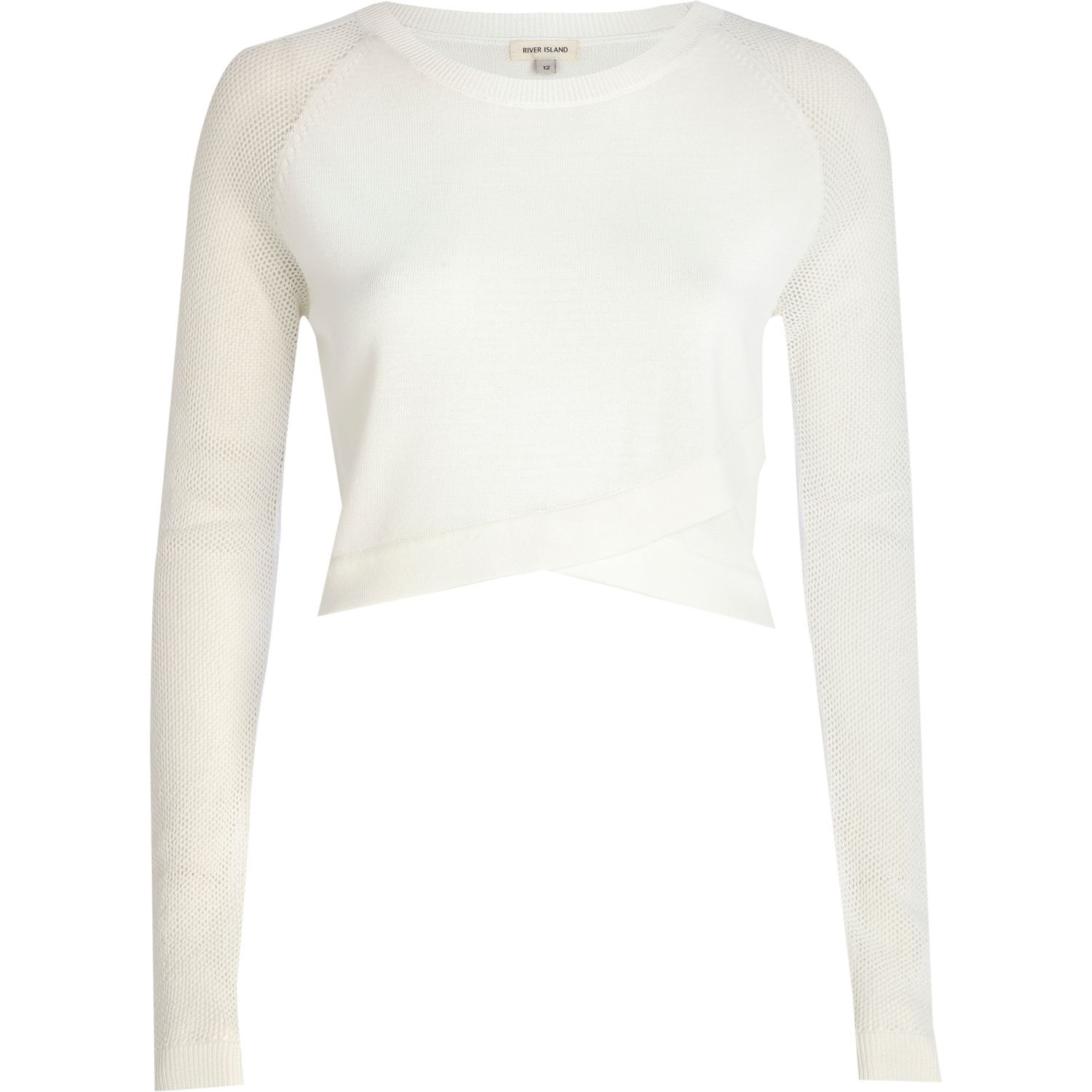 White wrap front mesh sleeve crop top