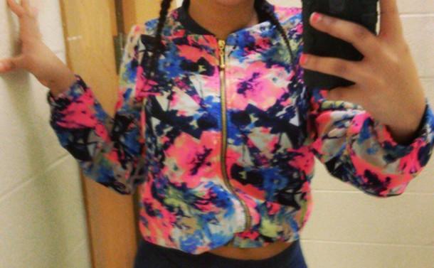 jacket rainbow soft foral cute retro vintage zip beautiful soft colors