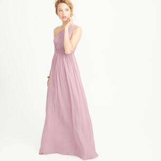 dress one shoulder dress one shoulder pink purple long dress