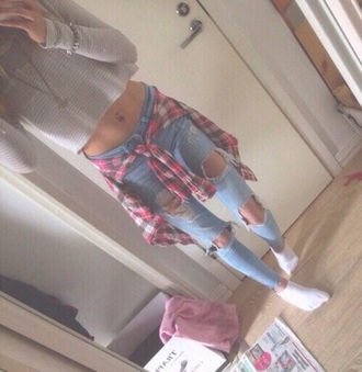 jeans blue jeans grey crop top plaid crop tops skintight casual blouse sweater jacket socks