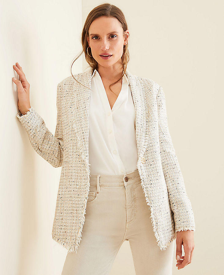 Fringe Tweed Shawl Collar Jacket | Ann Taylor