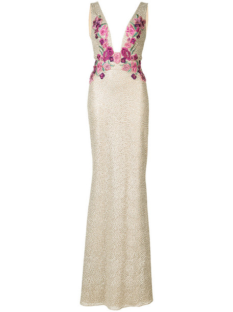 Marchesa Notte gown embroidered women floral yellow orange dress