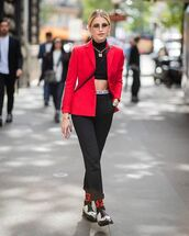 jacket,pants,crop tops,blazer,red blazers,red blazer,shoes,sunglasses